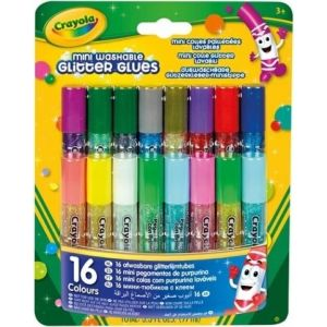Blister 16 minipegamentos de purpurina 6ml lavables crayola