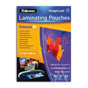 PACK 100 FUNDAS PLASTIFICAR A4 80 MICRAS BRILLO FELLOWES