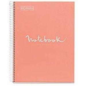 Paq/3 notebook1 a4 80h 90g cuad.5x5 melocoton microperforada tapa extradura