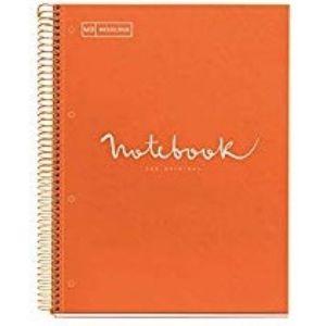 Paq/3 notebook1 a4 80h 90g cuad.5x5 naranja microperforado tapa extradura
