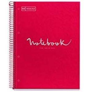 paq/3 notebook1 a4 80h 90g cuad.5x5 rojo microperforada tapa extradura