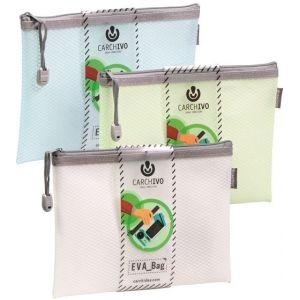 Paq/12 bolsas cremallera eva bag a6 colores surtidos 10,5cm x 14,8cm