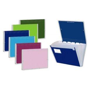 Caja 12 carpeta fuelle a4 colores surtidos polipropileno con 13 departamentos y ribete