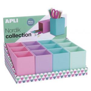 Exp 12 cubiletes portalapices silicona colores pastel