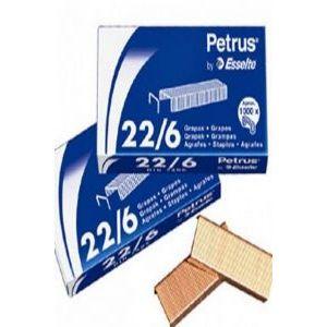 C/25 CAJAS DE 1000 GRAPAS PETRUS 22/6 COBREADAS