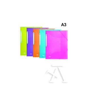 Paq/10 carpeta a3 gomas y solapas polipropileno colores surtidos elba