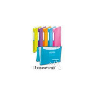Paq/10 carpeta fuelle a4+ 13 departamentos polipropileno colores surtidos cierre con goma