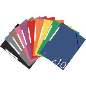 Paq/10 carpeta carton de gomas y solapas a4+ colores vivos surtidos
