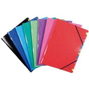 C/8 carpeta clasificadora 24,5x32cm 12 compartimentos carton lustrado colores surtidos