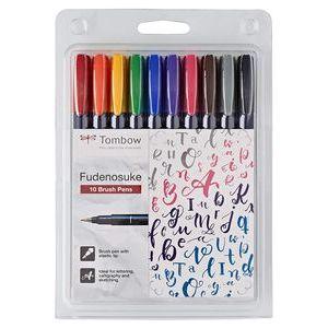 Estuche 10 rotuladores base agua punta elastica dura colores surtidos