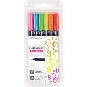 Estuche 6 rotuladores base agua punta elastica dura colores neón