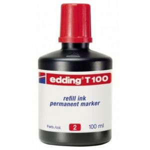 Bote de tinta rotulador edding t-100 100ml rojo