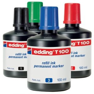 Bote de tinta rotulador edding t-100 100ml azul