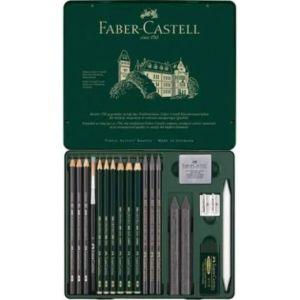 Caja metalica 19 piezas pitt grafito faber castell