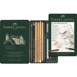 Caja metalica 12 piezas pitt monochrome faber castell