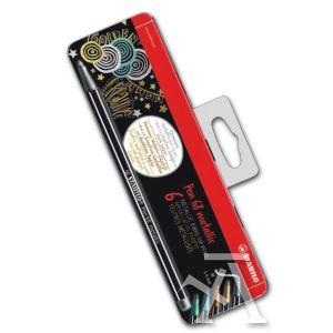 Estuche metal 6 rotuladores pen 68 metallic colores surtidos