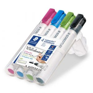 Estuche 4 rotuladores lumocolor whiteboard marker 351 colores surtidos