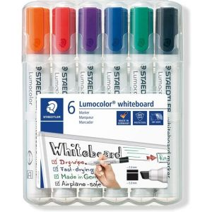 Estuche 6 rotuladores lumocolor whiteboard marker 351 colores surtidos