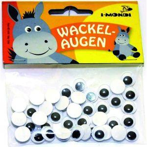 Ojos redondos adhesivos blanco negro 10mm 40 unid