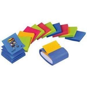 Dispensador violeta y 12 blocs notas adhesivas post-it rio y