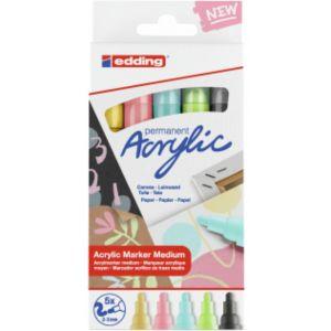 Pack 5 marcador acrilico edding 5100 trazo medio colores pastel