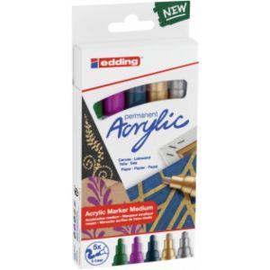 Pack 5 marcador acrilico edding 5100 trazo medio colores festivos