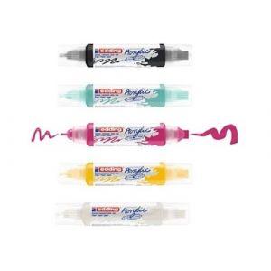 Pack 5 Tubo-marcador acrilico 3d 5400 con doble punta colores surtidos