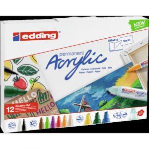 Pack 12 marcador acrilico edding 5300/5000/5100/5400 colores surtidos