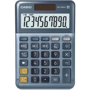 Calculadora sobremesa ms-100em 10 digitos solar/pilas azul