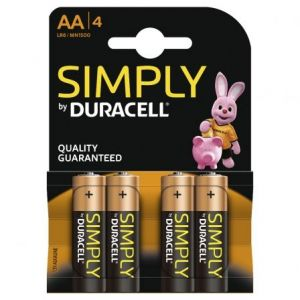 BLISTER 4 PILAS DURACELL SIMPLY LR6 AA