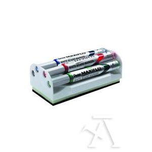 Set 4 rotuladores pizarra maxiflo colores negro, azul, rojo, verde con borrador magnetico