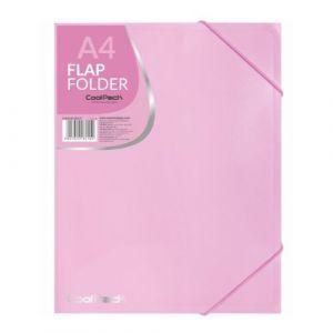 Carpeta a4 gomas y solapas pp color rosa pastel