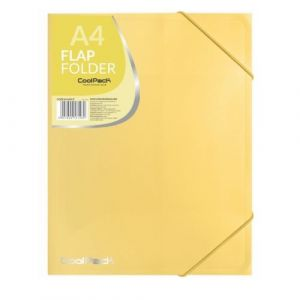 Carpeta a4 gomas y solapas pp color amarillo pastel