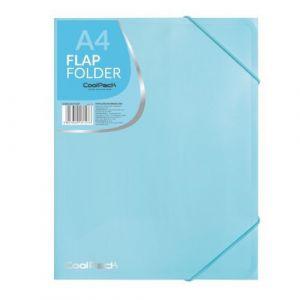 Carpeta a4 gomas y solapas pp color azul pastel