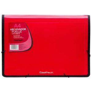 Carpeta fuelle a4 color rojo polipropileno con 13 departamentos y ribete negro