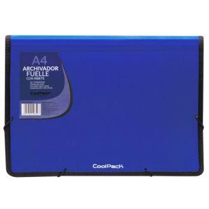 Carpeta fuelle a4 color azul polipropileno con 13 departamentos y ribete negro