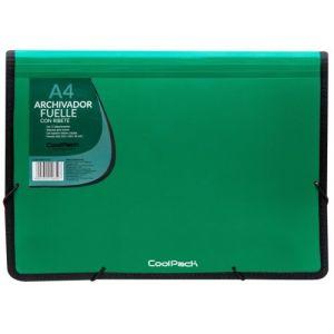 Carpeta fuelle a4 color verde polipropileno con 13 departamentos y ribete negro