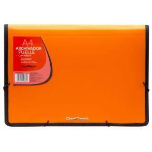 Carpeta fuelle a4 color naranja polipropileno con 13 departamentos y ribete negro