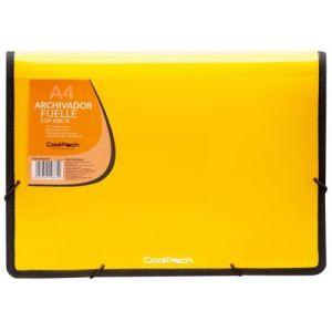 Carpeta fuelle a4 color amarillo polipropileno con 13 departamentos y ribete negro
