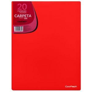 CARPETA 20 FUNDAS SOLDADAS A4 COLOR ROJO COOLPACK