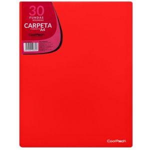 CARPETA 30 FUNDAS SOLDADAS A4 COLOR ROJO COOLPACK