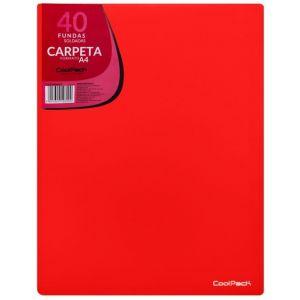 CARPETA 40 FUNDAS SOLDADAS A4 COLOR ROJO COOLPACK