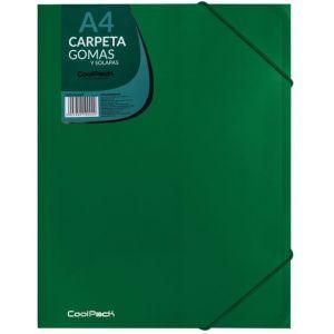 CARPETA GOMAS Y SOLAPAS A4 PP COLOR VERDE COOLPACK