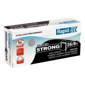 Grapas Rapid Super Strong 26/8+ Mm. Galvanizadas Caja De 5000