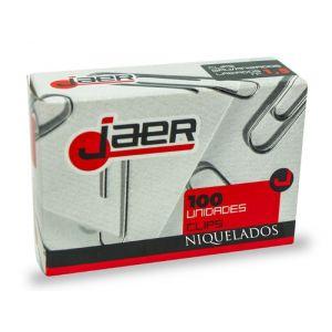 Clip Jaer Nº3 (42 Mm.) Labiado Niquelado Caja De 100
