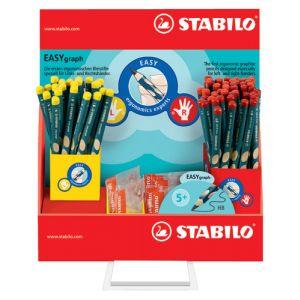 Lapiz De Grafito Stabilo Easy Graph Expositor De 72 Contenido: 48 Lapices Y 8 Afilas Diestro 24 Lapices Y 4 Afilas Zurdo