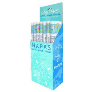 Mapa Erik Mini Poster 40x50 Cm Expositor De 24  8 Ud. Mpge0071 Mapa España  4 Ud. Mpge0067 Mapa Europa 12 Ud. Mpge0072 Mapa Mundo