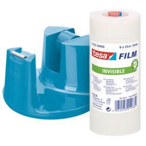 Portarrollos Tesa Azul + 6 Rollos 33x19 Invisible
