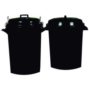 Cubo Basura Plastico Con Tapa 100 Litros Negro