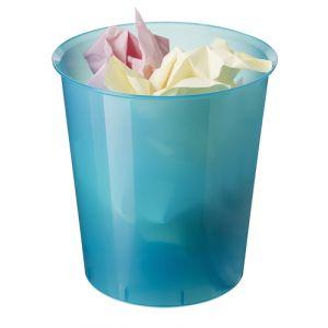 Papelera Plastico Cerrada 16 Litros Traslucido Azul Mar